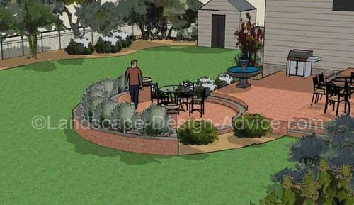 3d landscape design with two level patio