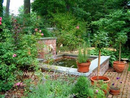 Professional landscape design with formal pond.