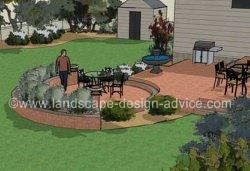 backyard patio with three areas.