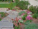Backyard stone walkway.