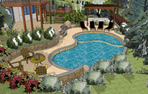 swimming pool design in 3D Sketchup