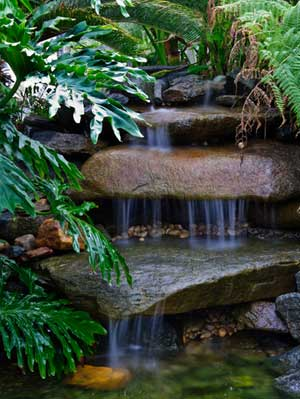 Cool small back yard water falls interior decorating las for Garden waterfall design