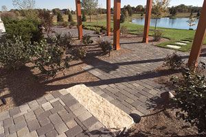 This is a walkway of mixed gray pavers.