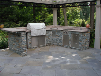 blue stone installation - Stone Patio Designs