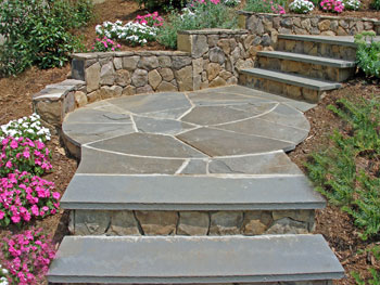 BLuestone steps with stone risers.