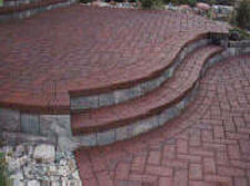 herringbone pattern set in concrete here are some photos of brick patio ideas - Brick Patio Designs