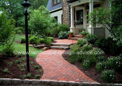 Brick patio design and landing.