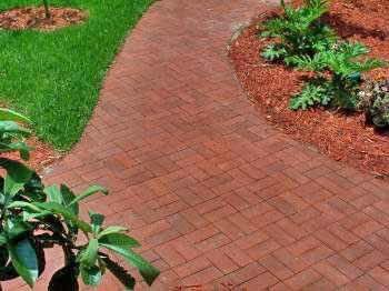 Brick walkway in basketweave.