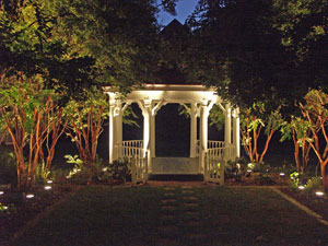 Decorative landscape lighting used on this gazebo looks great.
