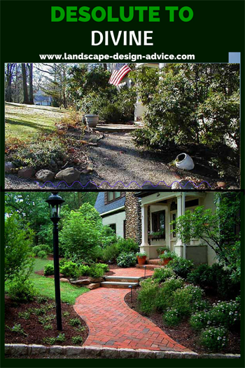 front yard design before and after with walkway