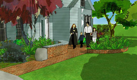3D Front Landscape Design With Brick Walkway.