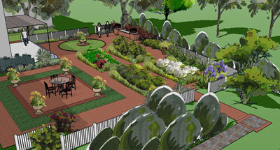 formal garden and walkways in 3d Sketchup