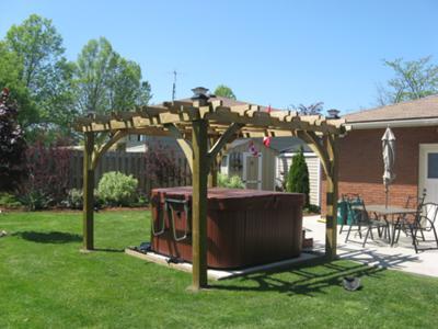 Garden Pergola Design and Hot Tub