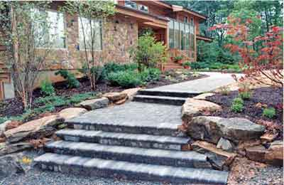 paver steps and walkway.