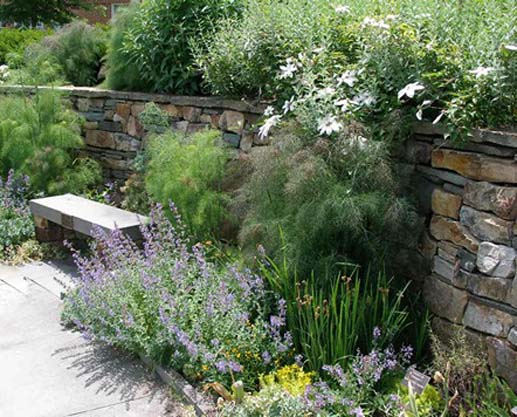natural stone landscape retaining wall.
