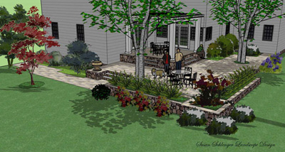 Here is a patio design in 3D using Sketchup.