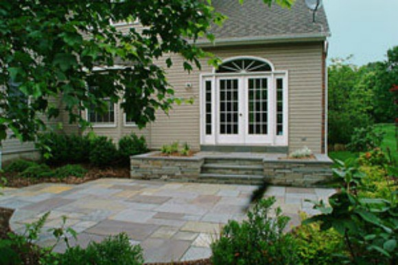 This Project Shows A Nicely Designed Patio Where The Entrance To The House  Was Above The Grade. We Used Dry Laid, Patterned Bluestone For This Lovely  Patio.