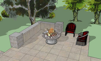 This 3D Design I Did For A Client Shows A Portable Fire Pit Along With A  Seat Wall And Some Casual Chairs.