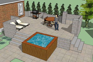 Hereu0027s A Patio Design I Did For A Client Including A Hot Tub.