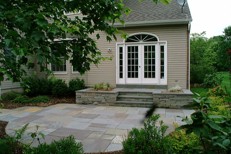 patio idea for landing with natural stone