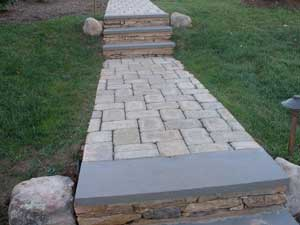 Paver Walkway Design Ideas pavers after paver walkway landscape and design for the side of the home with Paver Walkway With Bluestone Treads And Stone Risers