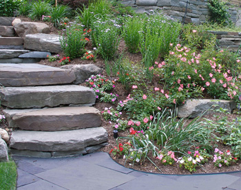 Landscape Steps And Walkways Can Be Created Through The Lawn Or Planted  Areas. They Can Also Be Designed To Go Around The Sides Of The Slope,  Rather Than ...