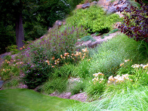 perennial garden design on a slope