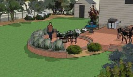 A raised patio in 3d.