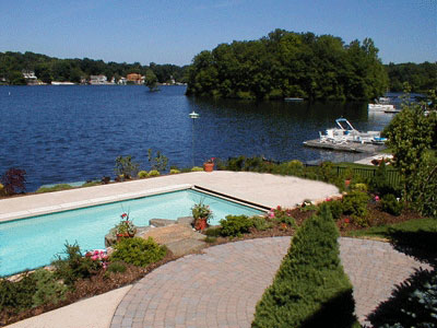 concrete pool paving with color added