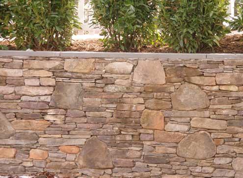 Retaining wall stones of varios sizes
