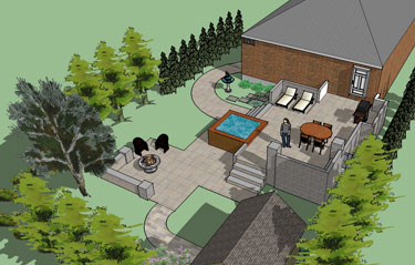 3d landscape design of raised patio