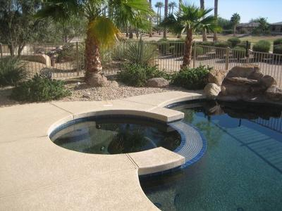 travertine pavers over concrete kool decking around pool