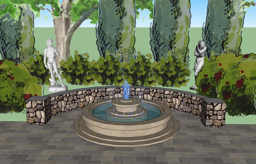 3D patio design done in conjunction with AutoCad.