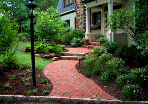 Front yard walkway design and plantings.