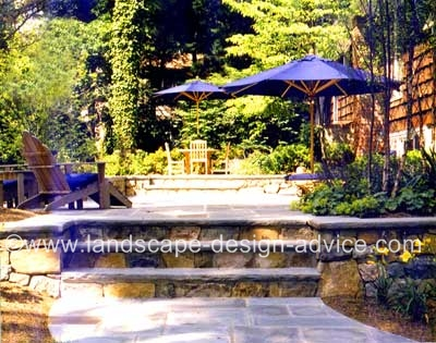 bluestone patio with stone steps
