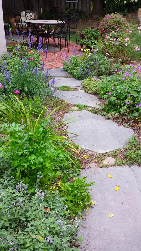 Bluestone slabs for a walkway design.