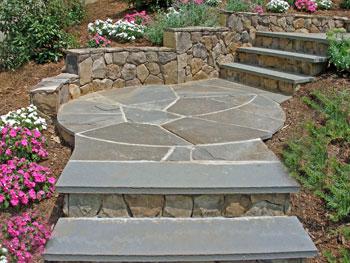 BLuestone steps with stone risers.