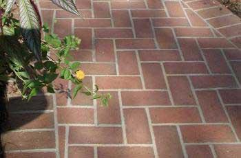 This brick design is set in concrete.
