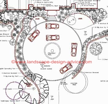Circular driveway with center fountain.