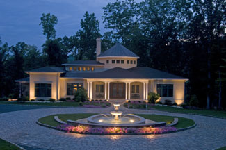 Driveway design with night lighting.