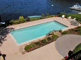 Concrete Pool Paving Is The Least Expensive. To Make It A Little More  Interesting, You Can Add Color To The Mortar Mixture.