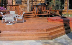 Deck with two levels and wide steps.