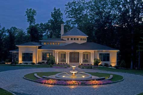 Creating beautiful formal garden designs for Courtyard driveway house plans