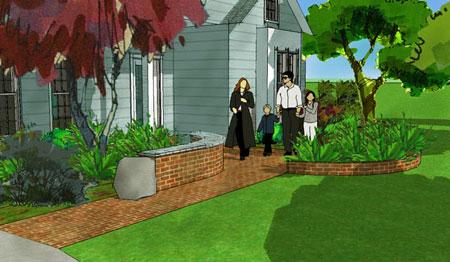3D front landscape design with brick walkway.