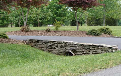 This shows landscape grading with a swale and pipe.
