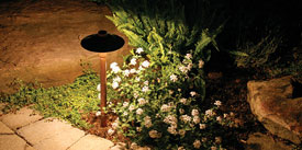 Path lighting should blend with the garden.