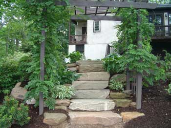 Fieldstone steps are both the riser and tread.