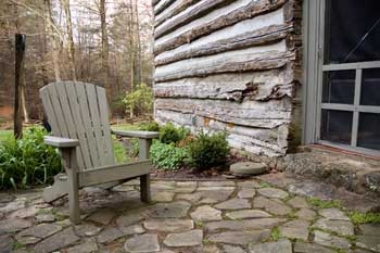 Stone patio at cabin