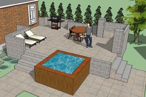 Hereu0027s A Patio Design I Did For A Client Including A Hot Tub.