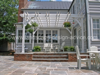 Patio pergola with bluestone.